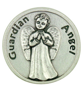 """Protect Me Wherever I Go"" Silver Plated Guardian Angel Pocket Token Prayer Coin"
