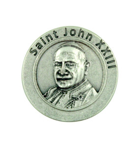 """Pray for Us"" Pope Saint John XXIII Silver Plated Pocket Token Papal Prayer Coin"