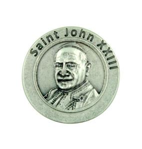 """Pray for Us"" Pope Saint John XXIII Silver Plated Pocket Token Papal Prayer Coin"