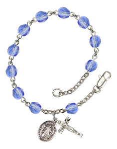September Birthstone Bead Rosary Bracelet with Divine Mercy Charm, 7 1/2 Inch
