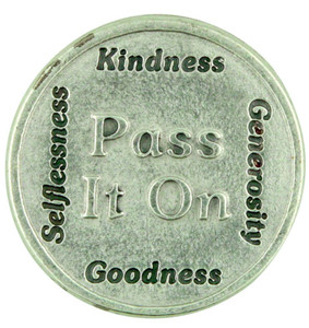 """Do a Good Dead and Pass It On"" Silver Plate Kindness and Generosity Pocket Coin"