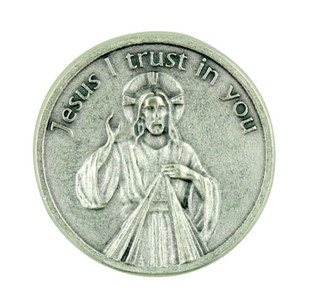 """""""Jesus I Trust in You"""" Divine Mercy of Christ Pocket Token Coin with Prayer Back"""