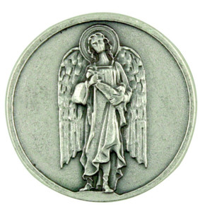 Archangel Saint St Raphael Silver Plated Pocket Token Coin with Prayer Back