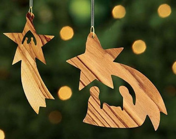 Nativity of Jesus Christ Wood Assorted PAIR Star Ornament Christmas Decoration