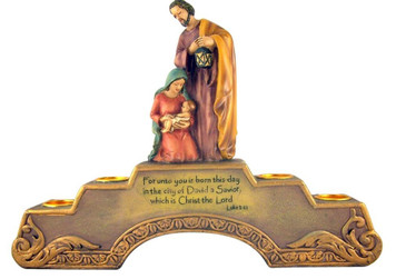 The Nativity of Jesus Christ Advent Candle Holder with Candles