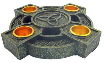 Celtic Cross Trinity Advent Wreath Candle Holder with Taper Candles
