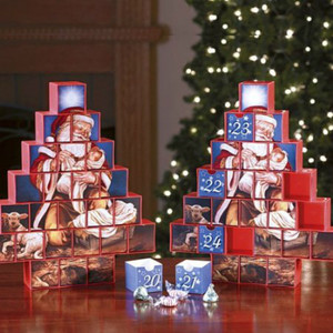 Adoring Santa Holding Baby Jesus Advent Calendar Tree with Drawers