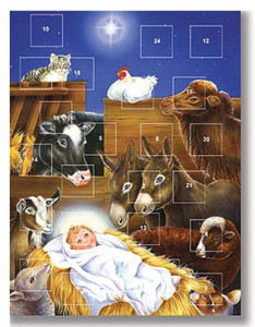 Pack of 12 - Birth of Jesus Christ in Manger Advent Christmas Calendar