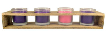 Advent Votive Candles in Wood Stand