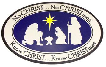 """No CHRIST... No CHRISTmas"" Nativity Flexible Auto Decal Magnet"