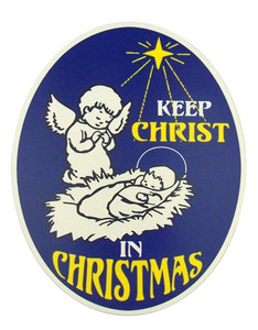 """Keep Christ in Christmas"" Angel with Jesus Flexible Car Magnet"