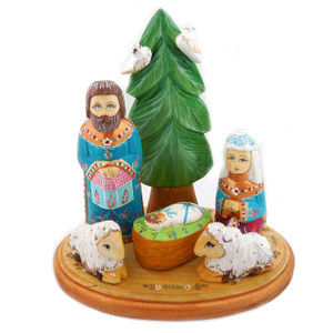 Russian Wooden Hand Carved Nativity Scene Set