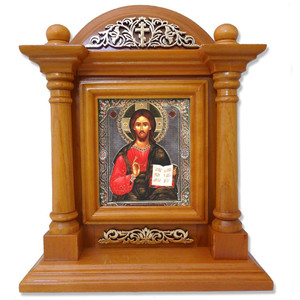 Russian Saint St Nicholas Icon Wood Shrine 9 1/4 Inches