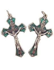 Lot of 2 Silver Tone Green Enamel 1 7/8 Inch Crucifix Pendant