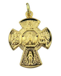 Gold over Sterling Silver  4-Way Miraculous Scapular Medal Cross Pendant, 15/16 Inch