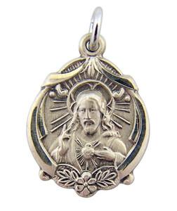 Sterling Silver Sacred Heart of Christ Floral Border Scapular Medal, 13/16 Inch