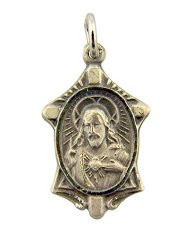 Sterling Silver Sacred Heart of Christ with Cross Scauplar Medal, 7/8 Inch