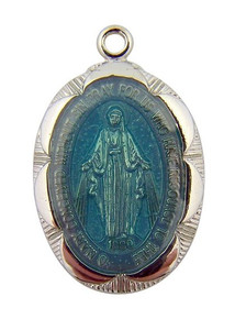 Stering Silver Blue Enamel Blessed Virgin Mary Miraculous Medal Pendant, 1 Inch