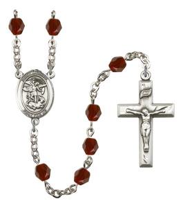 January Birthstone Prayer Bead Rosary with Saint Michael the Archangel Centerpiece, 19 Inch
