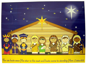 "Children's Stable Nativity 10"" Cardstock Advent Calendar with Die Cut Pull Tabs"
