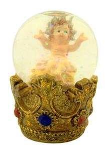 Nativity Infant Jesus on Crown Figurine Christmas Snowglobe, 3 Inch