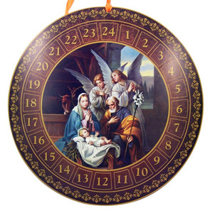 "Holy Family with Adoring Angels in Manger 14"" Advent Calendar with Die Cut Pull Tabs"