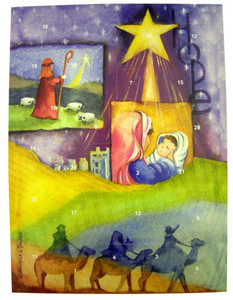 "Christmas Hope Nativity 10"" Advent Cardstock Calendar with Die Cut Pull Tabs"