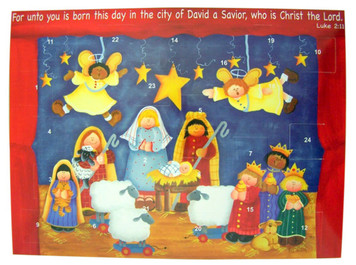 "Pack of 12 Copy of Born This Day Christ the Lord 10"" Christmas Advent Calendar with Die Cut Pull Tabs"