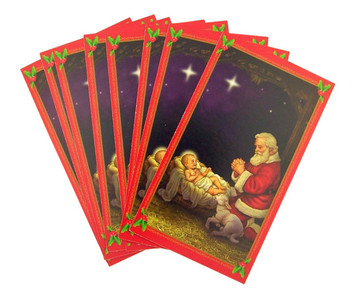 Pack of 5 Adoring Santa with Infant Christ 4 1/2 Inch Nativity Scene Holy Prayer Card
