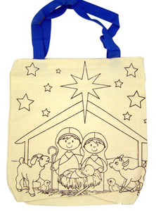 Kid's Color Your Own Holy Family Nativity Christmas 10 Inch Canvas Tote Bag