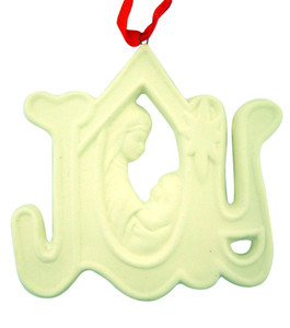 White Porcelain Virgin Mary with Child Joy Christmas Ornament, 3 1/4 Inch