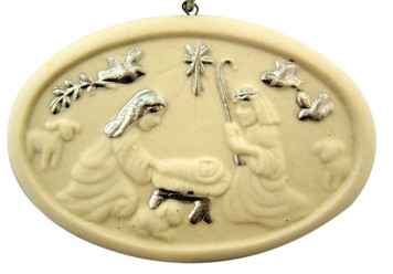 """White Porcelain and Silver Holy Family Oval 3 1/2"""" Nativity Christmas Ornament"""