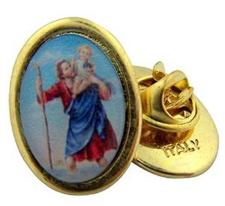 Gold Tone and Epoxy Image Saint Christopher Icon Medal Lapel Pin, 1 Inch