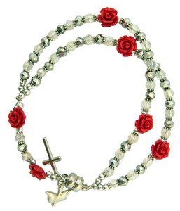Acrylic Rosebud Prayer Bead Rosary Bracelet with Holy Dove Medal, 7 Inch