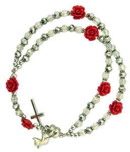 Acrylic Rosebud Prayer Bead Rosary Bracelet with Holy Dove Medal, 7 Inch
