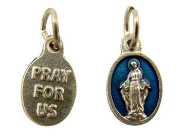 Blue Enamel Our Lady of Grace Miraculous Medal Charm Pendant, Set of 5, 5/8 Inch