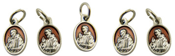 Brown Enamel Saint Padre Pio Pray for Us Medal Charm Pendant, Set of 5, 5/8 Inch