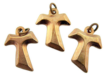 Bronze Tone Petite Saint Anthony's Tau Cross Charm Pendant, Lot of 3, 3/4 Inch