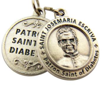 Silver Tone Patron of Diabetes Saint Josemaria Escriva Medal, 3/4 Inch