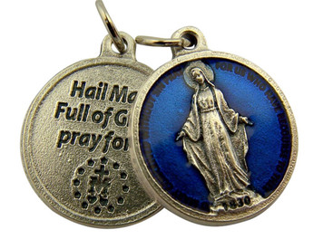 Blue Enamel Miraculous Medal with Hail Mary Prayer Back, 3/4 Inch