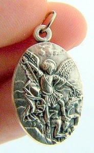 "Archangel St Michael 1"" Silver Tone Medal Pendant Charm"