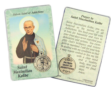"Laminated Catholic Saint Maximillian Kolbe 3 3/8"" Holy Prayer Card with Medal"