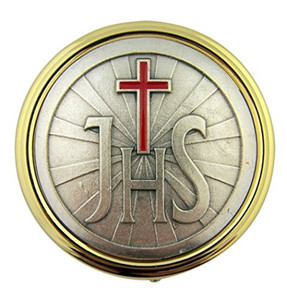 Gold Plate Eucharist Pyx with IHS and Red Enamel Cross, 2 1/4 Inch