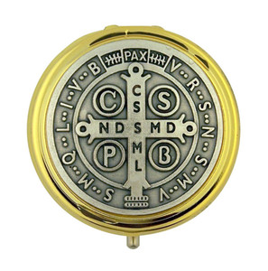 Gold Plate Eucharist Pyx with Silver Tone Saint Benedict Medal, 1 7/8 Inch