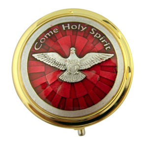 Gold Plate Eucharist Pyx with Red Enamel Come Holy Spirit Medal, 1 7/8 Inch