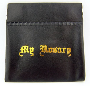 Black Vinyl Rosary Case with Spring Closure