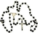 Black Wood Prayer Beads Rosary with St Benedict Medal Centerpiece