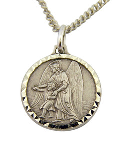 French Nickel Silver Catholic Guardian Angel 3/4 Inch Medal Pendant