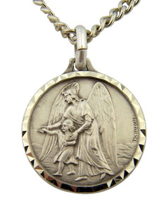 French Nickel Silver Catholic Guardian Angel Medal Pendant, 1 Inch