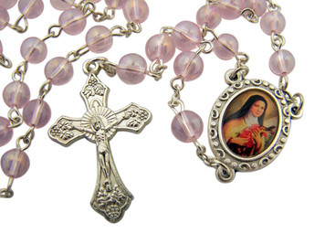 "Acrylic Prayer Bead 17"" Rosary with Catholic Saint Therese Medal Centerpiece"